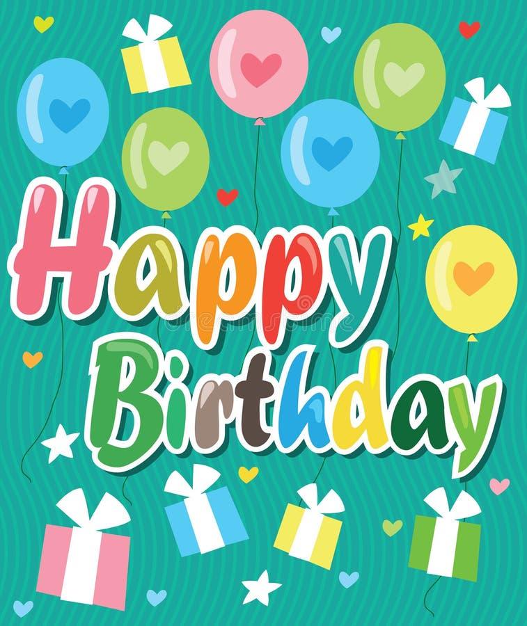 Wszystkiego Najlepszego Z Okazji Urodzin karta Z balonami, sercami I prezentami koloru, ilustracja tło galerii więcej moich do we ilustracji