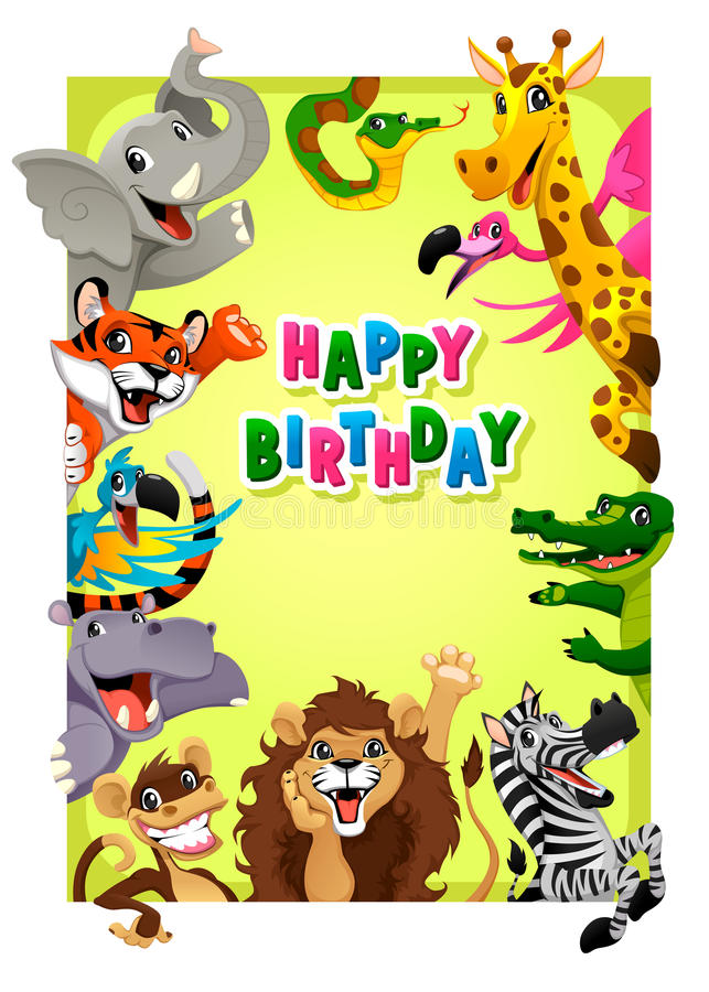 Wszystkiego Najlepszego Z Okazji Urodzin karta z dżungli zwierzętami royalty ilustracja