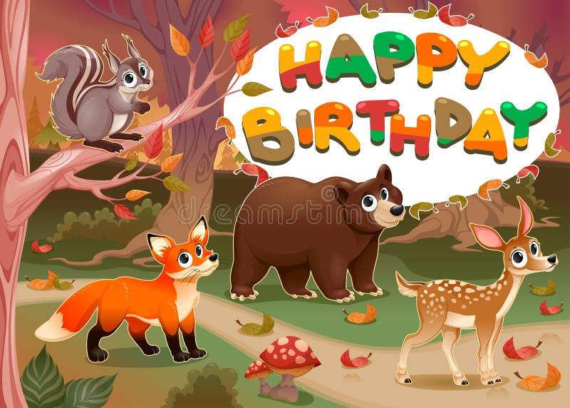 Wszystkiego Najlepszego Z Okazji Urodzin karta z drewnianymi zwierzętami royalty ilustracja