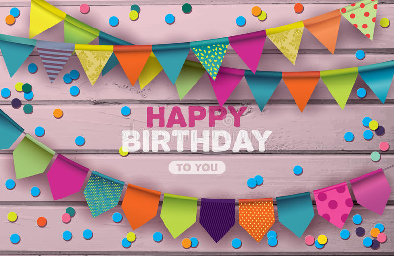 Wszystkiego Najlepszego Z Okazji Urodzin karta z kolorowymi papierowymi girlandami i confetti ilustracji