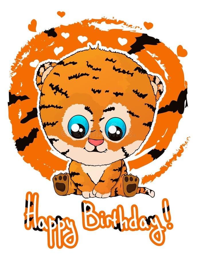 Wszystkiego najlepszego z okazji urodzin kartka z pozdrowieniami z ślicznej kreskówki tygrysim lisiątkiem royalty ilustracja