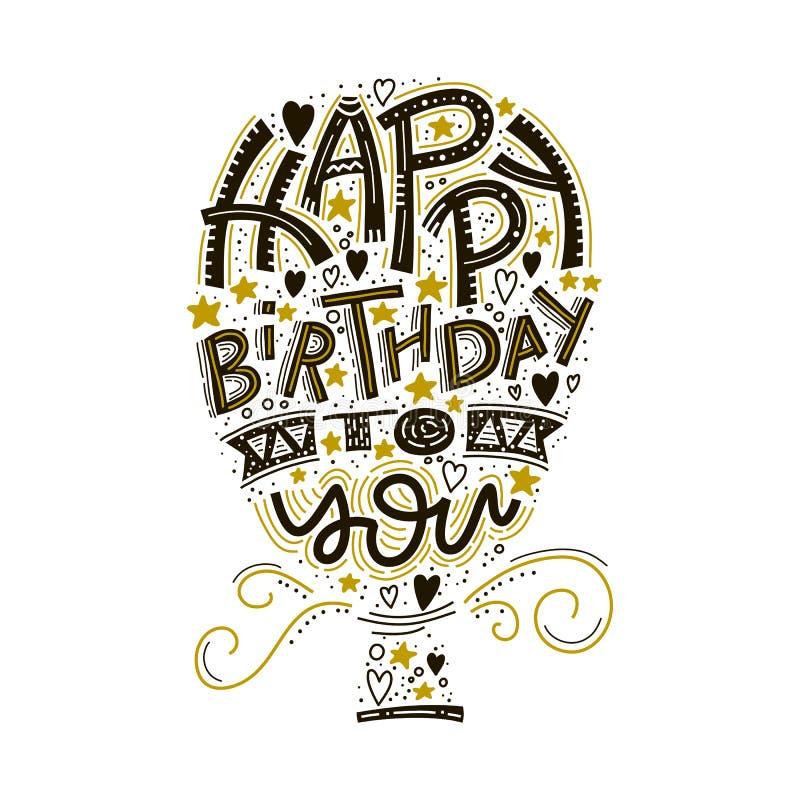 Wszystkiego najlepszego z okazji urodzin kartka z pozdrowieniami literowanie Ręka rysujący zaproszenie Typografii tło Świętowanie ilustracja wektor
