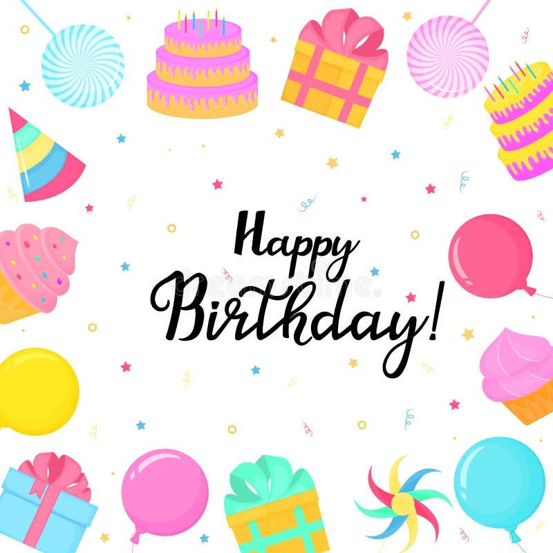 Wszystkiego Najlepszego Z Okazji Urodzin kartka z pozdrowieniami z prezentami, torty, balony, kulebiaki ilustracja wektor