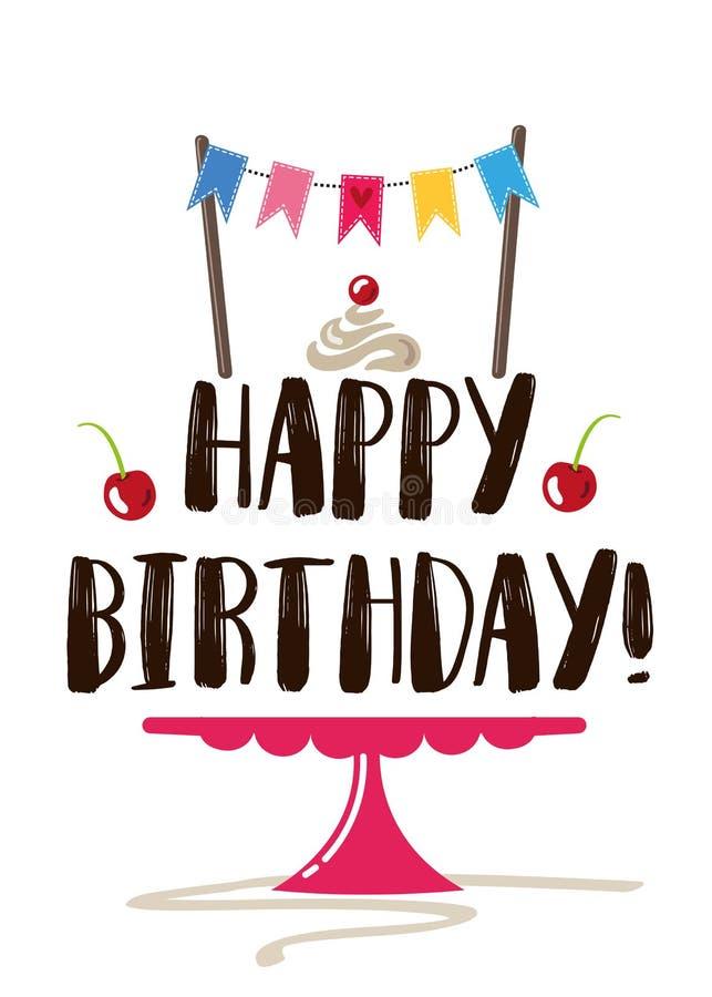 Wszystkiego najlepszego z okazji urodzin kartka z pozdrowieniami wektor, Urodzinowa klamerki sztuki ilustracja/ ilustracja wektor