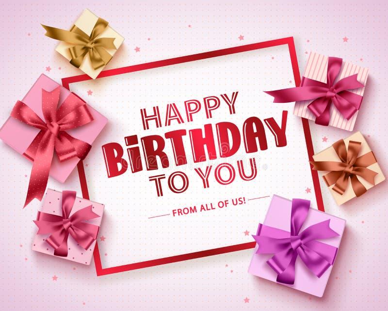 Wszystkiego najlepszego z okazji urodzin kartki z pozdrowieniami wektorowy projekt Urodzinowego prezenta pudełka i wszystkiego na royalty ilustracja