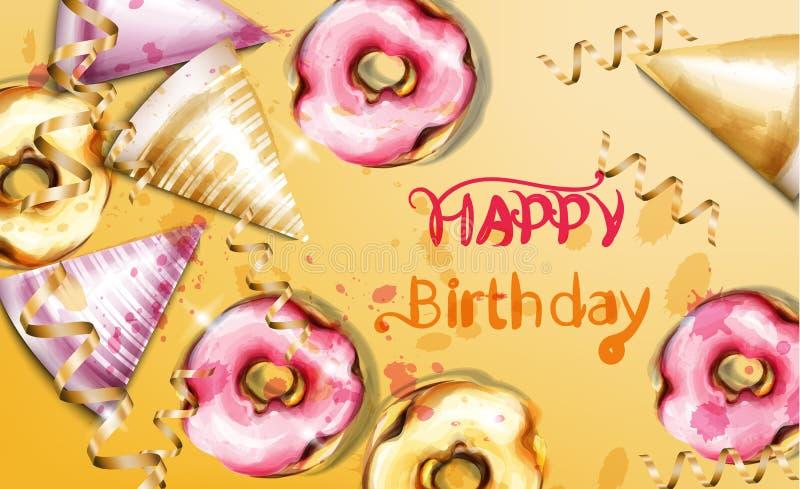 Wszystkiego najlepszego z okazji urodzin karty wektoru akwarela Urodzinowi kapeluszy i donuts tła szablonu sztandary royalty ilustracja