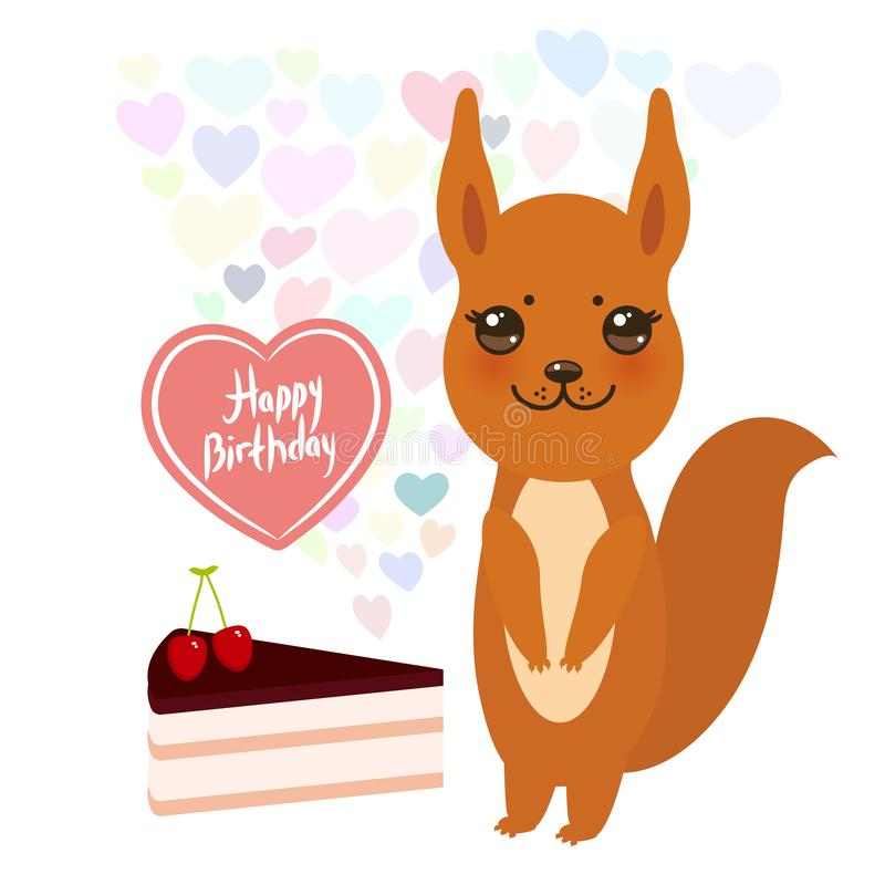 Wszystkiego najlepszego z okazji urodzin kawaii Karciana śliczna wiewiórka z tortem, balon w formie serca, pastelowi kolory na bi ilustracji
