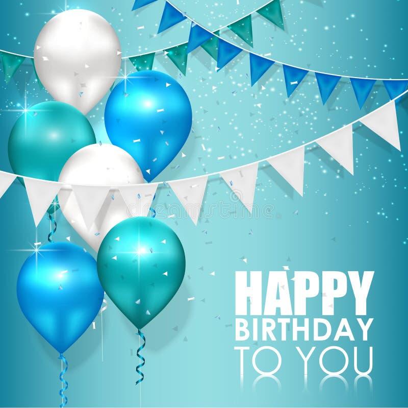 Wszystkiego najlepszego z okazji urodzin kolory na błękitne wody tle ilustracja wektor