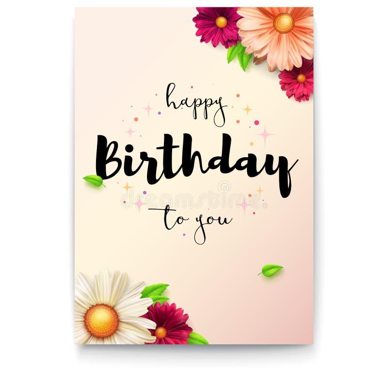 Wszystkiego najlepszego z okazji urodzin literowania kwiecisty projekt E r royalty ilustracja