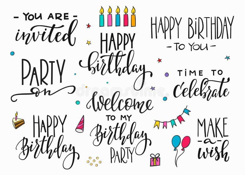 Wszystkiego Najlepszego Z Okazji Urodzin literowania typografii Partyjny set royalty ilustracja