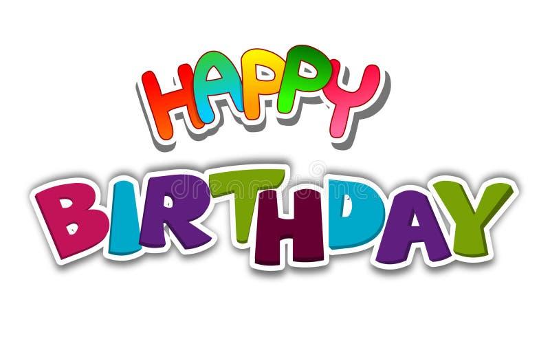 Wszystkiego najlepszego z okazji urodzin literowanie Urodzinowy kartka z pozdrowieniami wektor ilustracji