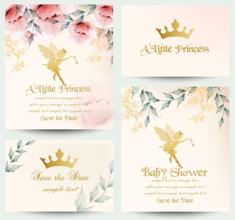 Wszystkiego najlepszego z okazji urodzin mały princess karta ustawiający wektor Delikatni kwieciści bukiety royalty ilustracja