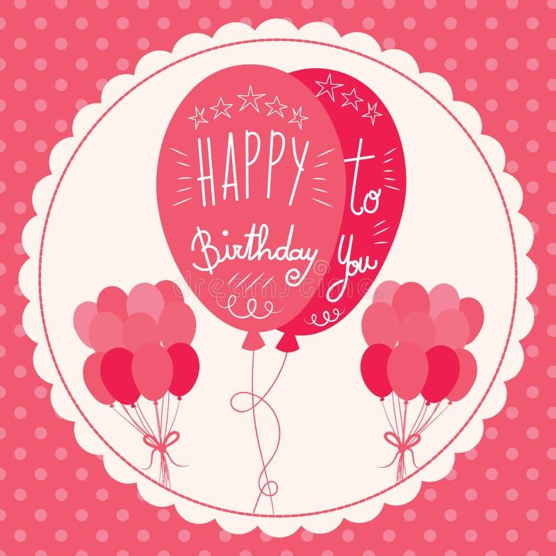 Wszystkiego Najlepszego Z Okazji Urodzin menchii balony ilustracji