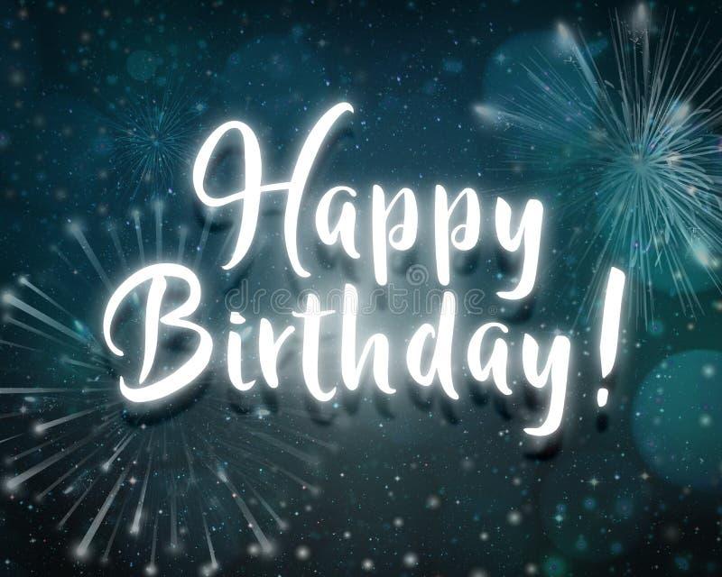 Wszystkiego najlepszego z okazji urodzin nocy lekkiego skutka teksta przyjęcia neonowy zmrok - błękita plecy zdjęcia royalty free