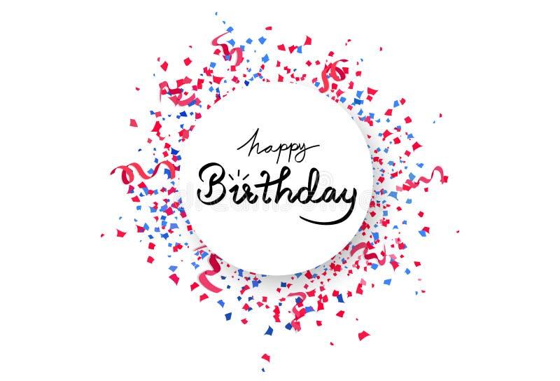 Wszystkiego najlepszego z okazji urodzin okręgu sztandaru rama z confetti spadać, papier i faborki, rozpraszamy wybuch, kaligrafi ilustracji