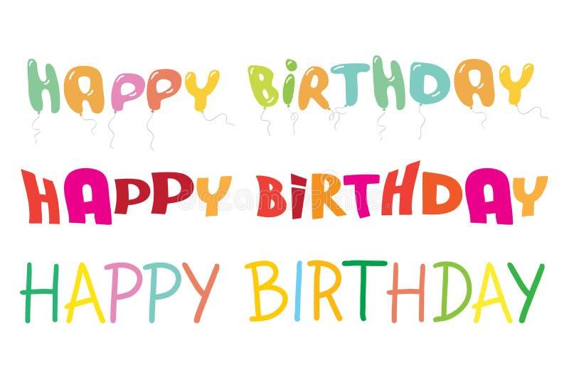 Wszystkiego najlepszego z okazji urodzin pisze list kolorowego wektorowego illustrat ilustracji