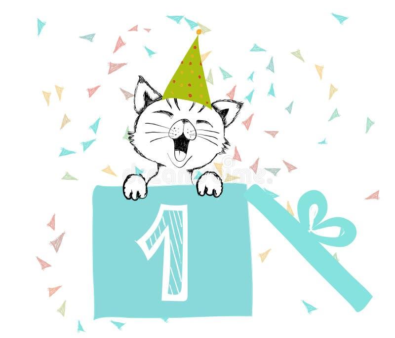 Wszystkiego Najlepszego Z Okazji Urodzin powitań kart ręka rysująca z ślicznym kotem tworzył z czarnymi atramentów piórami dla ko royalty ilustracja