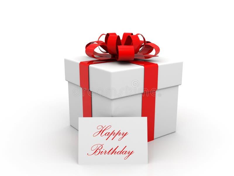 Wszystkiego Najlepszego Z Okazji Urodzin prezenta pudełko nad białym tłem 3 d czynią ilustracja wektor
