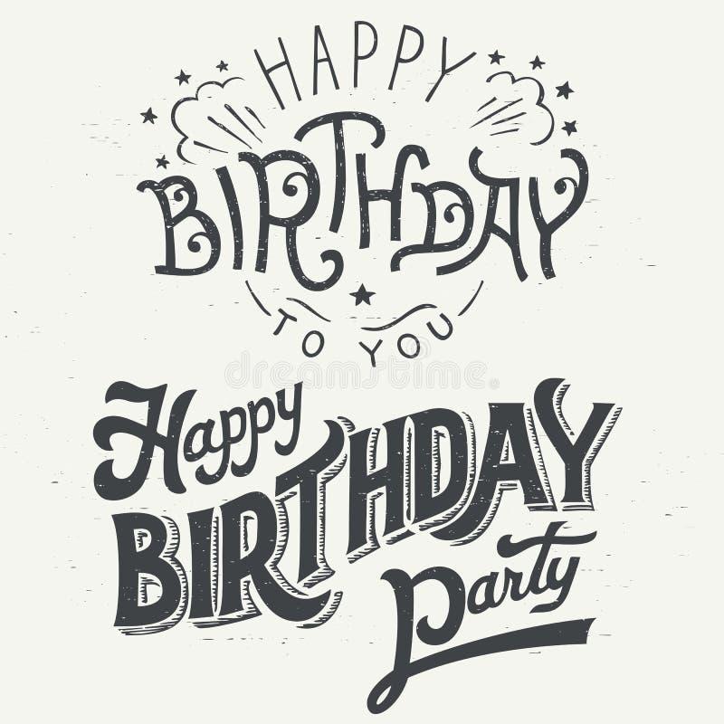 Wszystkiego najlepszego z okazji urodzin projekta ręka rysujący typograficzny set ilustracji