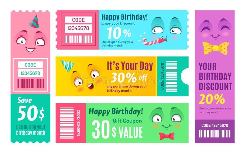 Wszystkiego najlepszego z okazji urodzin promo alegat Rocznicowy talon, szczęśliwi prezentów alegaty i uśmiechnięty promo, koduje royalty ilustracja