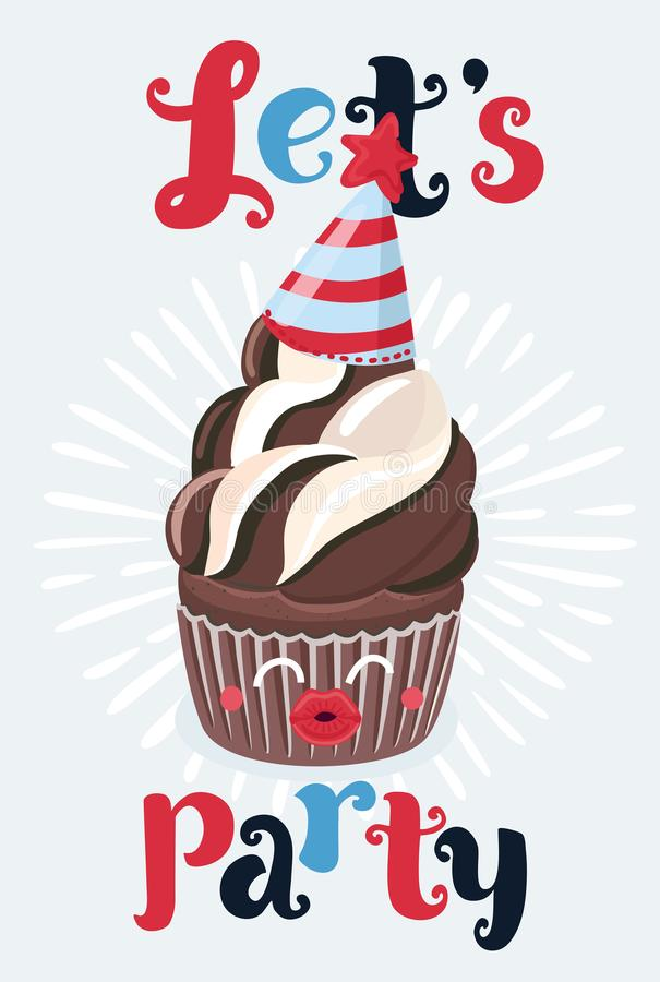 Wszystkiego Najlepszego Z Okazji Urodzin przyjęcia karty ustawiać z babeczką ilustracja wektor