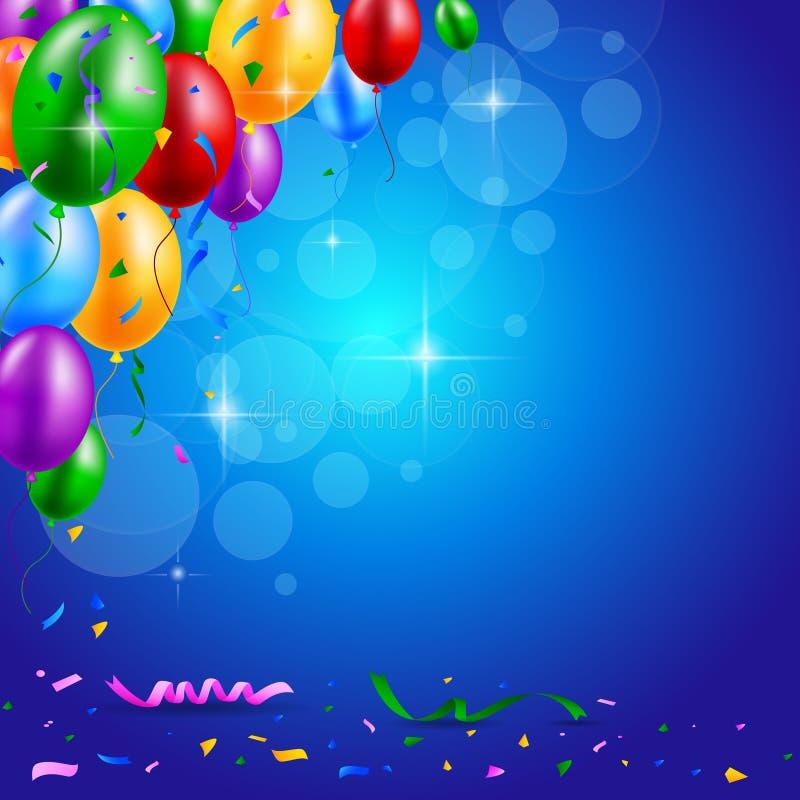 Wszystkiego Najlepszego Z Okazji Urodzin przyjęcie z balonami i faborku tłem ilustracja wektor