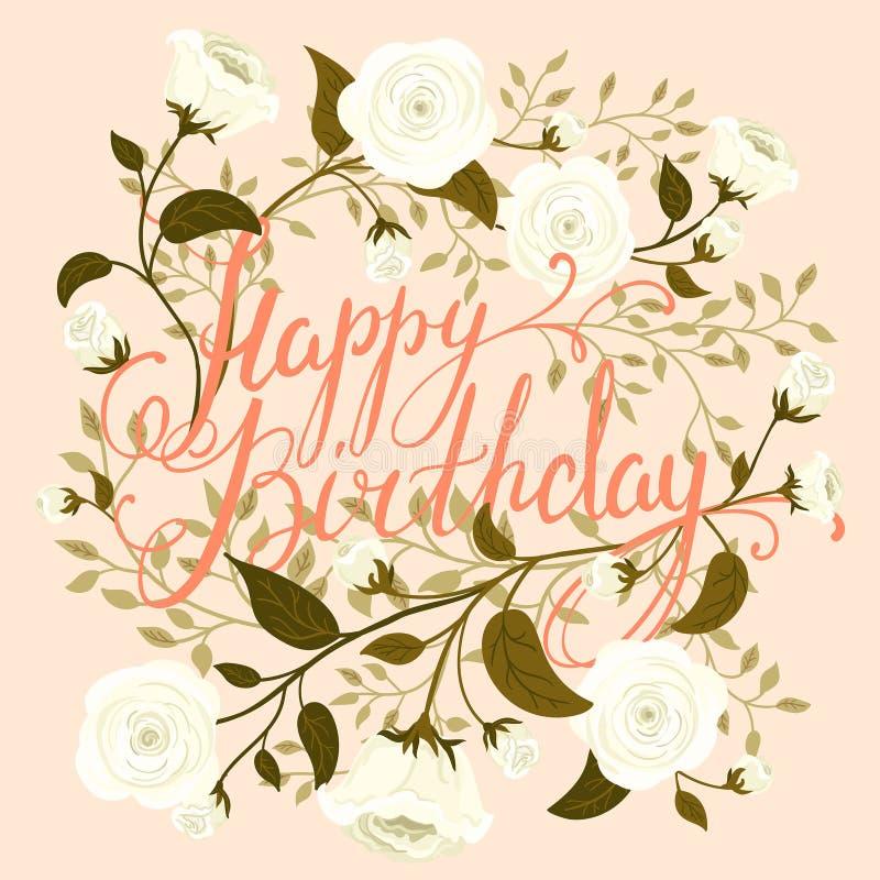Wszystkiego najlepszego z okazji urodzin rocznika karta zdjęcia stock