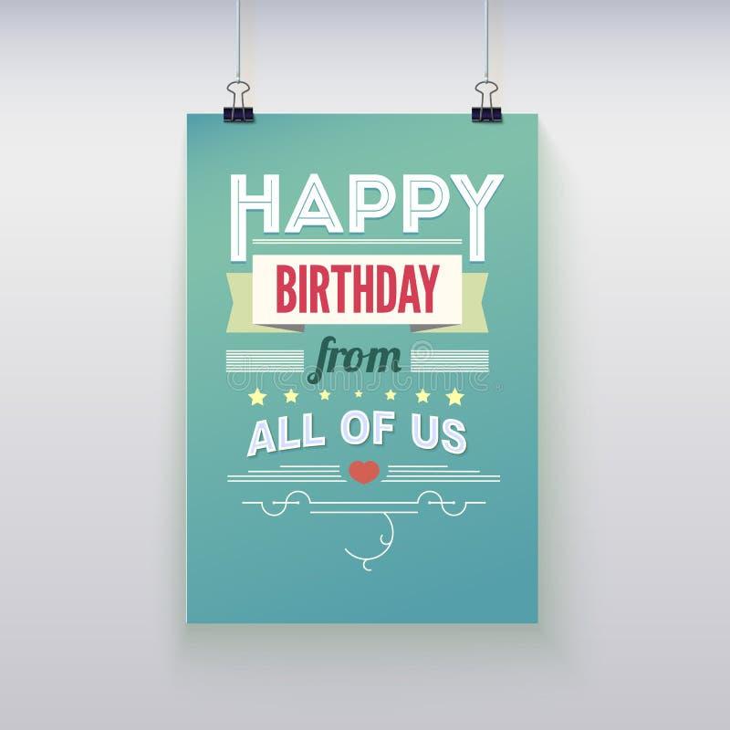 Wszystkiego Najlepszego Z Okazji Urodzin, rocznika plakat, grunge fotografia stock