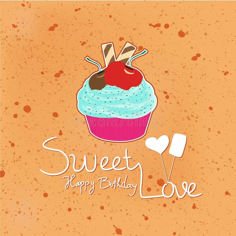 Wszystkiego Najlepszego Z Okazji Urodzin słodka miłość z babeczkami ilustracja wektor