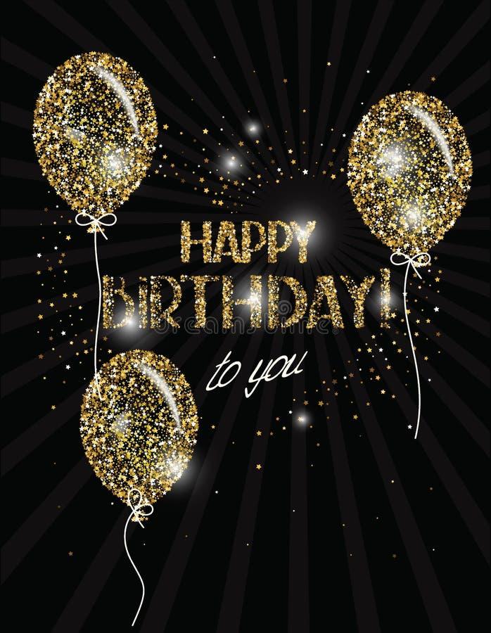 Wszystkiego Najlepszego Z Okazji Urodzin sztandar z abstrakcjonistycznymi złocistymi lotniczymi balonami ilustracja wektor