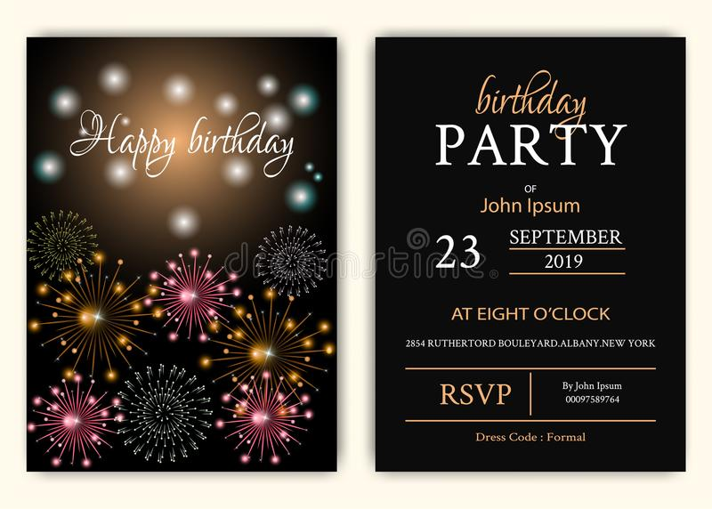 Wszystkiego najlepszego z okazji urodzin tło z błyskotanie koloru fajerwerkami ilustracja wektor