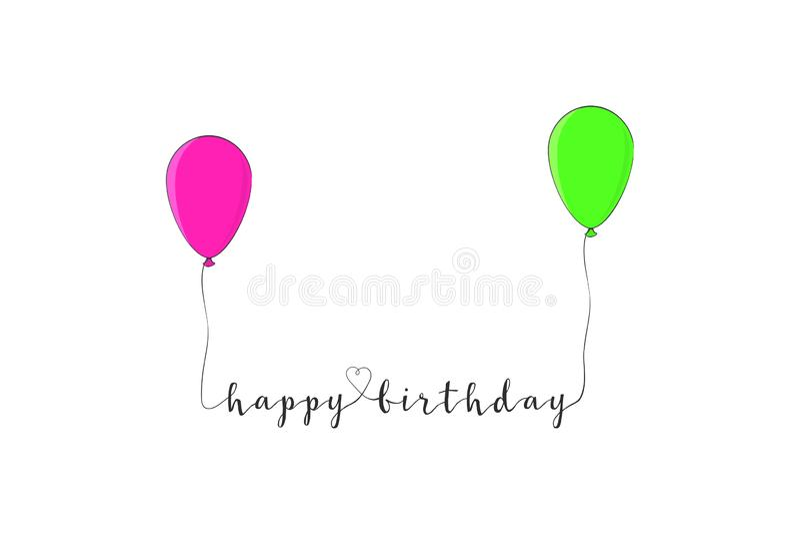 Wszystkiego najlepszego z okazji urodzin tekst z kolorowymi balonami pojedynczy bia?e t?o wektor ilustracji
