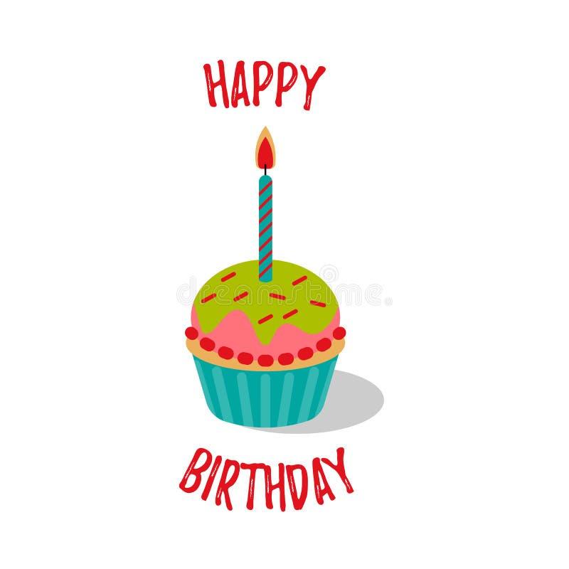 Wszystkiego najlepszego z okazji urodzin tort z świeczką dla dziewczyny również zwrócić corel ilustracji wektora ilustracja wektor