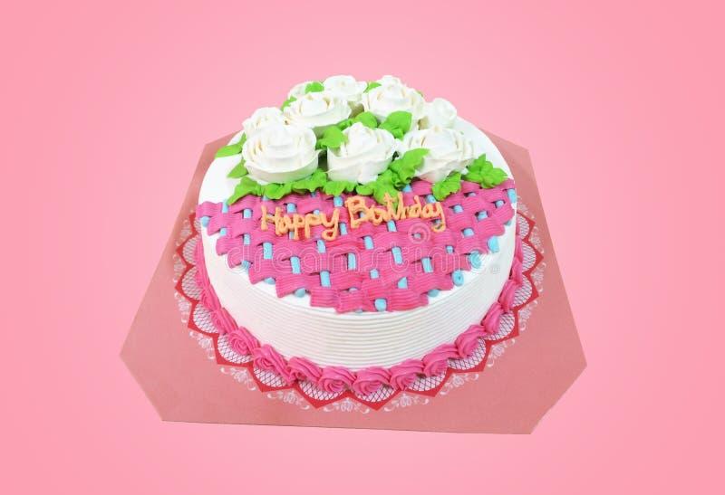 Wszystkiego najlepszego z okazji urodzin tort nad różowym tłem obraz stock