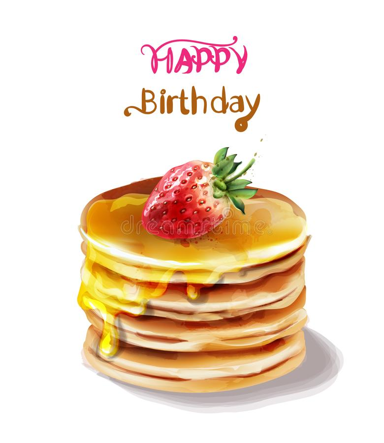 Wszystkiego najlepszego z okazji urodzin torta wektoru akwarela E ilustracja wektor