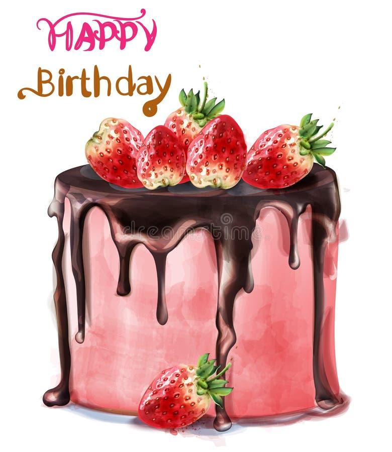 Wszystkiego najlepszego z okazji urodzin truskawki torta wektoru wyśmienicie akwarela Karciani wystroje ilustracja wektor