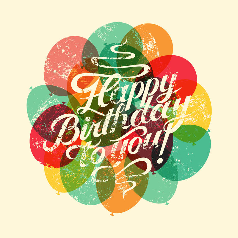 Wszystkiego Najlepszego Z Okazji Urodzin! Typographical retro grunge Urodzinowa karta również zwrócić corel ilustracji wektora ilustracji