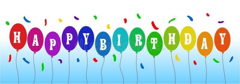 Wszystkiego najlepszego z okazji urodzin wektorowy sztandar, chodnikowiec urodzinowy balonowy szczęśliwy royalty ilustracja