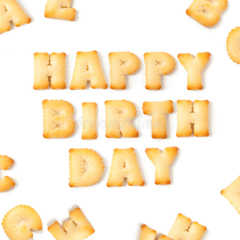 Wszystkiego najlepszego z okazji urodzin wiadomość pisać z domowej roboty ciastkami fotografia stock