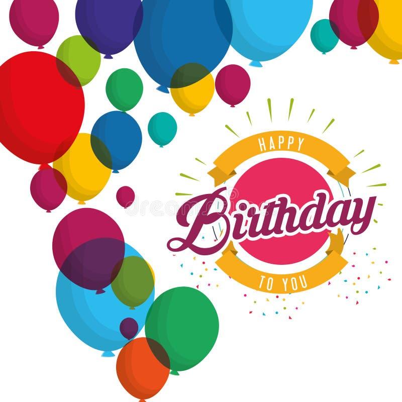 Wszystkiego najlepszego z okazji urodzin wybuchu confetti balonów karta ilustracji