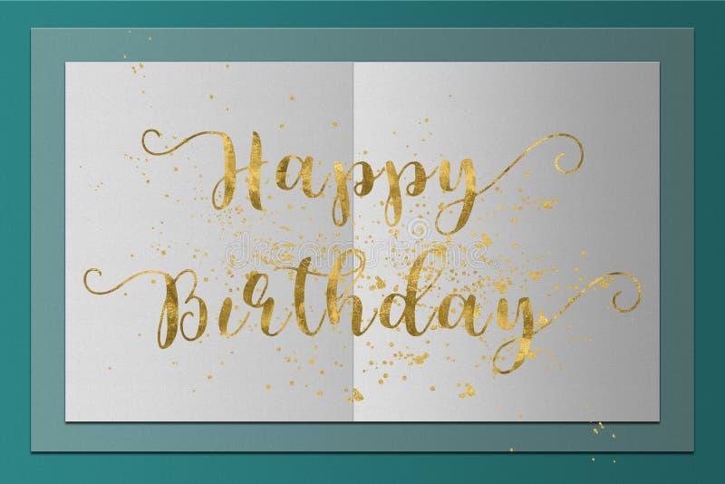 Wszystkiego Najlepszego Z Okazji Urodzin złota karciani słowa ilustracji
