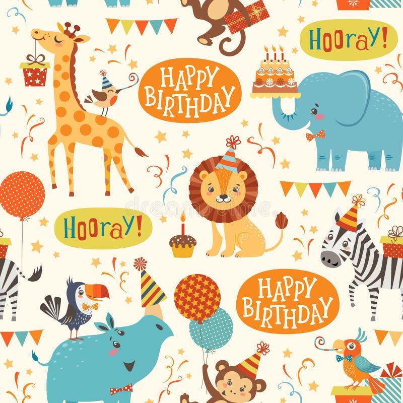 Wszystkiego najlepszego z okazji urodzin zwierząt wzór ilustracja wektor