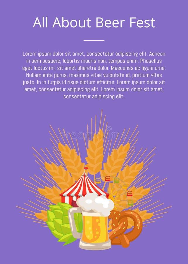 Wszystko o Fest plakacie z jedzenie Ustaloną Niemiecką piekarnią ilustracja wektor