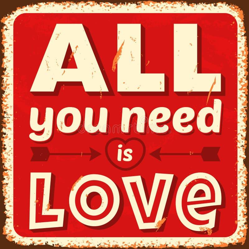 Wszystko ty potrzebujesz jest miłością ilustracja wektor