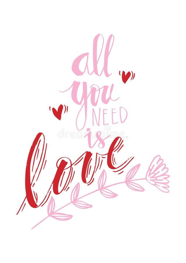 Wszystko ty potrzebujesz jest miłości zwrotem royalty ilustracja