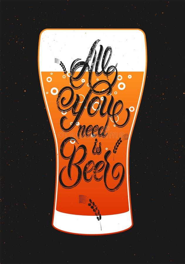 Wszystko ty potrzebujesz jest Piwny Rocznika kaligraficznego grunge piwny projekt również zwrócić corel ilustracji wektora ilustracji