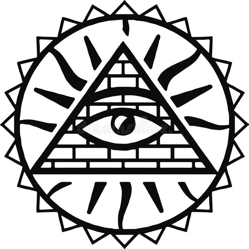 wszystkowidzący oko bóg  Oko opatrzność   Oko wszechwiedza   Świecąca delta   Oculus Dei Antyczny mistyczny sakralny symbol royalty ilustracja