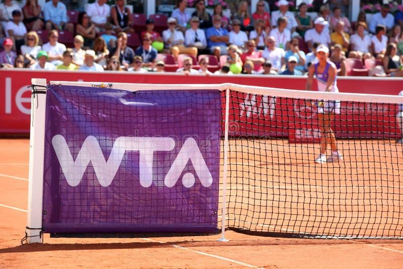 Wta-logo on tennis net stock photos