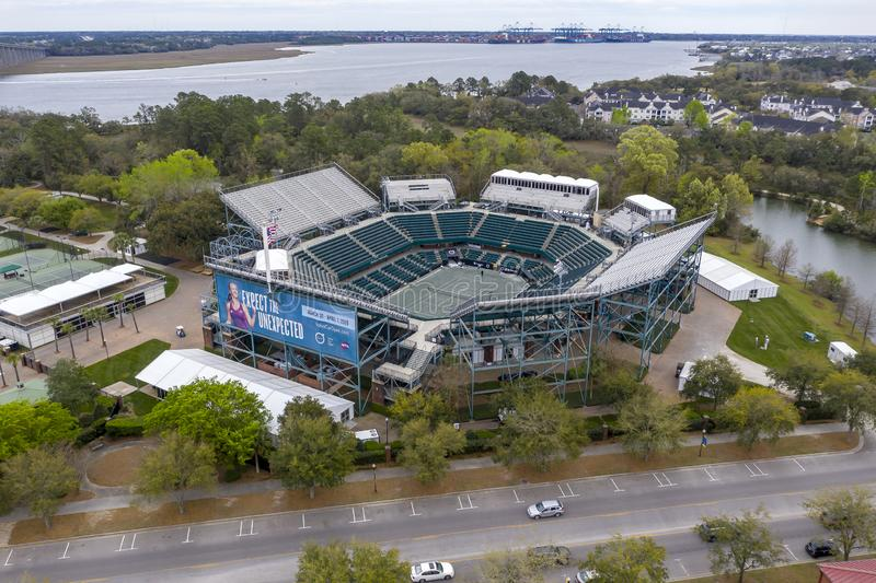 WTA: March 16 Aerial Views Of The Volvo Car Open Main Stadium stock images