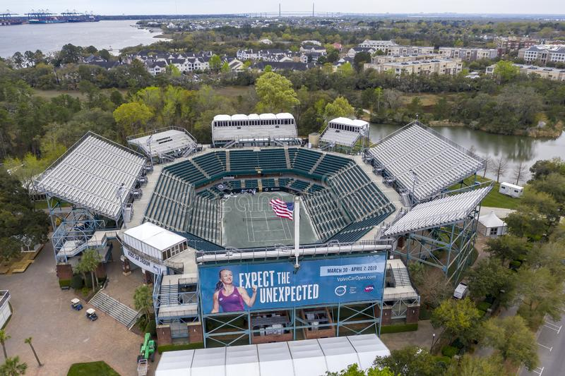 WTA: March 16 Aerial Views Of The Volvo Car Open Main Stadium stock photography